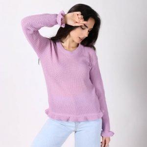 Sweater Punto Ingles Volado en Puño y Cintura