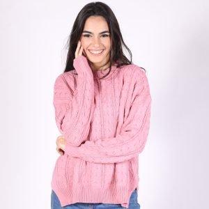 Sweater Basico Trenzas y Canelones Escote V